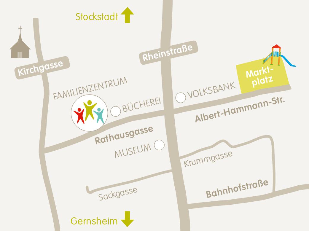 Anfahrt Familienzentrum Biebesheim